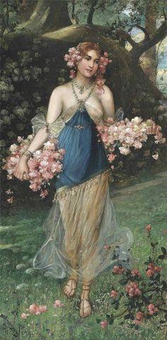the-maidens-of-spring-Hans-Zatzka-austrian 1859-1945