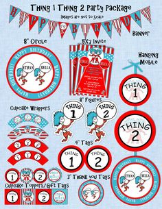 Dr Seuss Thing 1 and Thing 2 Birthday Party by sweete1976 on Etsy, $20.00