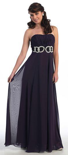 Este vestido de noche bonito esta desarrollado en chiffon suave que fluye de una manera muy bonita ~ Tiene un bodice sin breteles y el busto acanalado para dar le un poco de textura. La decoracion de pedreria en la cintura le da un look muy lindo a este vestido, perfecto para una ocasion formal y divertida ~