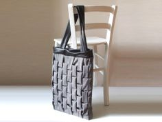 large tote bag vegan shopping bag black faux leather and houndstooth canvas geometric pattern on Etsy, $67.20 CAD