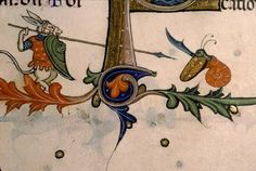 In the margins of the Pontifical of Guillaume Durand created in Provence, France, in circa 1390, an ass fights a snail! The battle for the margins will be intense! Bibliothèque Sainte-Geneviève, Ms. 143, fol. 179v.