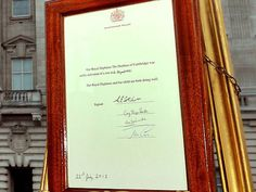 Close-up shot of the official proclamation outside of Buckingham Palace http://www.people.com/people/package/article/0,,20395222_20717851,00.html