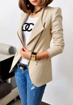 Apricot Collarless Coat - Long Sleeves Coat