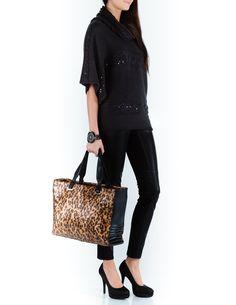 Aftershock London leather leopard print handbag