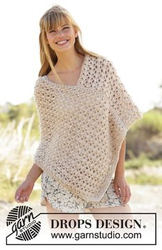 Creme Caramel / DROPS - Knitted DROPS poncho with lace pattern in 1 thread Cloud or 2 threads Air Nordic Mart - DROPS design one-stop source for Garnstudio yarns, free crocheting and knitting patterns, crochet hooks, buttons, knitting needles and notions. Knitting Patterns Free, Crochet Patterns, Free Pattern, Free Knitting, Knitting Needles, Free Crochet, Knit Crochet, Crochet Tops, Ravelry Crochet