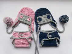 SET for Twins  Aviator Hat and Diaper Cover for by KnittingLand, $53.50