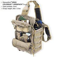 COLOSSUS VERSIPACK Tactical Nylon Gear Concealed Carry Shoulder Sling Bag - MAXPEDITION HARD-USE GEAR Tactical Nylon Gear for Military, Law Enforcement, Tactical Concealed Carry; Tailored to Perform Tactical - I think I can get my iPad in there...