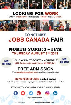 Looking for a job? Immediate hiring? Direct interview? JOBS CANADA FAIR - NORTH YORK August 9th. From 1 - 3 pm. Free Admission. Meet face-to-face with recruiters, HR Managers and hiring companies from #NORTHYORK. Register online today to attend and submit your resume so employers can contact you before the Job Fair. #jobscanadafair #jobscanada #jobscanadafairs #jobfair #employment #event #hiring #careerfairs #canadacareerfairs #hiringjobfair #recruitmentjobfair #NorthYorkjobfair