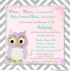 Chevron Owl Shower Invitations - This baby girl's design is accented with light teal, all in a feminine print on a soft pastel pink backdrop with a sweet lavender purple owl on gray & white chevron.