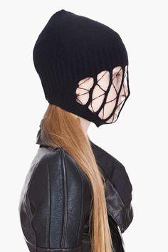Rick Owens Black Slashed Ski Mask Beanie for women | SSENSE