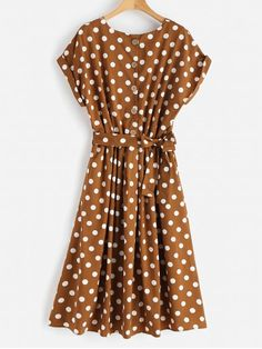 Shop for Half Buttoned Polka Dot Midi Dress RED DIRT: Midi Dresses M at ZAFUL. Only $22.18 and free shipping!