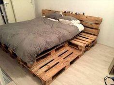 99 easy and smart ways to make wood pallet furniture ideas 23 - Bett Backboard Ideen