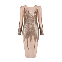 Babe On Fire Gold Sequins Midi Dress ($188) ❤ liked on Polyvore featuring dresses, sexy white cocktail dress, white midi dress, long-sleeve midi dresses, white dresses and gold sequin dress