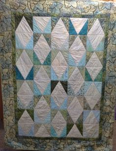 "Machine Quilted Throw or Lap Quilt, Soft Pastels, 52"" x 67""  