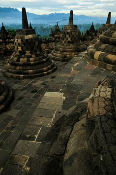 Borobudur complex, Central Java, Indonesia (UNESCO World Hertiage site)