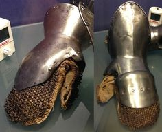 Eurpopean gauntlets with riveted mail mittens,  from the arsenal of Sion castle, Sion Castle Museum, (Castle Valere), Switzerland. Right hand maker/production place unknown, 1430-1445. Left hand, Italian, 1420-1430, makers mark 'DE'.