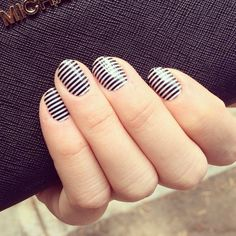 Jamberry's Black  White Skinny gives a simple, yet classy look. A versatile look that works for any occasion! $15 #nails #stripes #fashion http://jillr.jamberrynails.net/