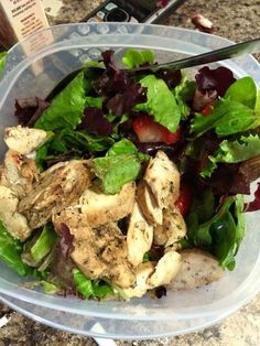 Baked herb chicken and strawberry salad today. Found this awesome organic raspberry vinaigrette to use. Only 5 calls per tbsp! #HCGrecipes4u www.facebook.com/...