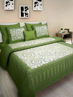 BedZone Cotton Comfort Rajasthani Jaipuri Traditional Double Bed Bedsheet with 2 Pillow Covers (King Size Green) King Size Bed Sheets, Double Bed Sheets, Queen Size Bedding, Double Beds, Flat Sheets, Couch Covers, Pillow Covers, Cotton Bedding, Cotton Pillow
