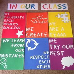 Classroom Norms-This is a great idea for putting the classroom norms in the room.  It gives the room color and is very noticeable.  You can laminate the colored paper and then change the norms from year to year as your class changes.