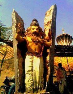 Vishnu in the form of Narasimha (man/lion) appears from inside the stone pillar.he could only kill the demon at dusk (not day or night); not inside nor outside palace (within the column). Jai Shree Krishna, Radhe Krishna, Hanuman Pics, Pencil Portrait Drawing, Durga Goddess, Lord Vishnu, Hindu Deities, Stone Sculpture, Hindu Art