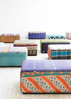 antique quilt ottomans - DIY