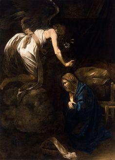 The Annunciation -- by Michelangelo Merisi da Caravaggio, ca. 1608 -- in the Musée des Beaux-Arts, Nancy Baroque Painting, Baroque Art, Italian Baroque, Italian Painters, Italian Artist, Catholic Art, Religious Art, The Annunciation Painting, Michelangelo Caravaggio