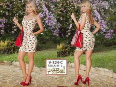 Vestido Colombianos PitBull  +Modelos en: http://www.ropadesdecolombia.com/index.php?route=product/category&path=77  #vestido #corto #verano #fiesta #ajustado #ropa #moda #estampado #flores