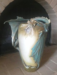 AMPHORA EASTERN DRAGON VASE -This eastern dragon vase was made by the renowned Bohemian Art Nouveau ceramics manufactory Amphora (aka Riessner, Stellmacher, and Kessel) circa 1900