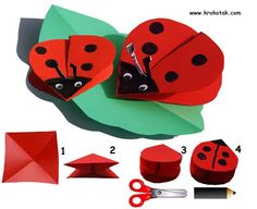Pop up ladybugs/elementary art/Mariquita origami coccinelle Kids Crafts, Preschool Crafts, Craft Projects, Ladybug Crafts, Animal Crafts, Kirigami, Origami Paper, Diy Paper, Spring Crafts