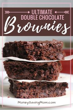 Guest post from Brigette Shevy These are *the* brownies Crystal and I grew up on. Our family first discovered this recipe in a Taste of Home magazine, and it instantly became a favorite. I can't tell you how many times … Great Desserts, Fall Desserts, Dessert Recipes, Bar Recipes, Dessert Ideas, Yummy Recipes, Baking Recipes, Double Chocolate Brownies, Chewy Brownies