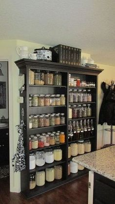 Beautiful and elegant mason jar storage cabinet and pantry