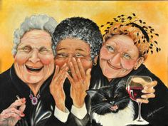 Old Women Painting - Magical Moment by Shelly Wilkerson