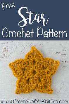 Adorable and quick crochet crochet star pattern is fun to make! #crochetstar #starcrochetpattern #crochetstars #crochetstarpattern #crochet365knittoo Crochet Ornament Patterns, Free Applique Patterns, Crochet Dolls Free Patterns, Crochet Flower Patterns, Crochet Stitches Patterns, Loom Patterns, Crochet Motif, Crochet Ideas, Crochet Gifts