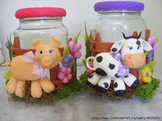 Polymer Clay Covered Jars & Ideas - NO Information given as to the artist of any/all of these jars. *Sorry*