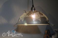 Vintage Colander kitchen Pendant Lamp - Custom made from a vintage kitchen Colander - pendant lamp - aluminum colander lamp
