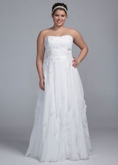 This crinkle chiffon wedding dress with lace appliques and ruffles is both elegant and fun!  Sample Sale gowns are only available online (not available in stores).  Sample Sale gowns contain imperfections such as tears in the lining or tulle, or imperfect seams in the skirt, etc.  Specific imperfections are not visible in the photograph shown which is representative of the style and design, not the individual dress that will be shipped.  Sample Sale product cannot be returned in our stores,
