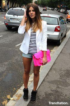 Shorts + cool sneakers + blazer + fluor
