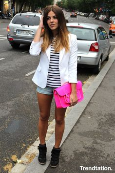Shorts + wedge sneakers + blazer