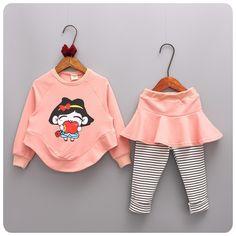 >> Click to Buy << Autumn 2016 Korean Children's Garment 2 Pieces Set Girl Baby Girl Circle Pendulum Sweater Stripe Culotte Underpant Suit #Affiliate