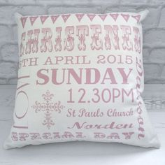 Beautifully designed Christening Bunting cushion, the perfect elegant way to treasure all the memories for a babies special day!!