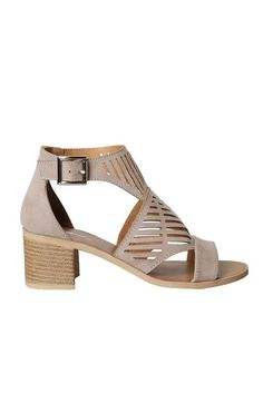 A versatile style to add to your new-season repertoire, these taupe-hued sandals are crafted with a faux suede material, designed with a linear lasercut pattern. They have an open toe and a closed hee