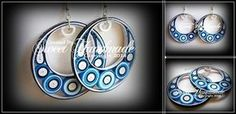 Quilling earrings are made from3 mmwide paper and with a water resistant coating.    These earrings are light weight, unique, and gor...