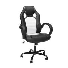 Essentials High-Back Racing Style Gaming Chair with Padded Arms - White