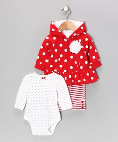 Take a look at this White & Red Polka Dot Floral Jacket Set - Infant by Little Me on #zulily today!