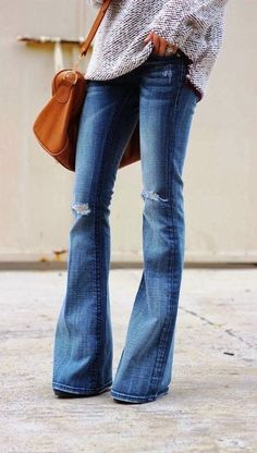 Cute flare jeans with a sweater that I love!