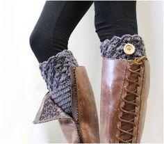 BOOTIE CUTIE Crochet grey handmade boot cuff | KNIT boot topper grey