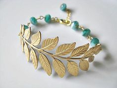 Brass Botanical Branch With Teal Blue Rustic Picasso Czech Glass Rondelle Beads Bracelet, Ocean, Lagoon, Bridesmaid Bracelet, Teal Blue Color, Bridesmaid Bracelet, Czech Glass, Picasso, Beading, Great Gifts, Hair Accessories, Beaded Bracelets, Thing 1