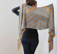Stripes stripes stripes shawl! You can never have too many stripes in your knitting! Also, gray + yellow knitwear forever! | Ravelry: Trigonometry Shawl by Jenny F