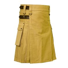 Khaki Deluxe Kilt with Snap securing Leather Strap Our handmade kilts are built to last and will withstand any manly task you put them up to. The style is traditional with added functionality. The custom button placement and buckle closure give our kilts a unique flare you won't find anywhere else.